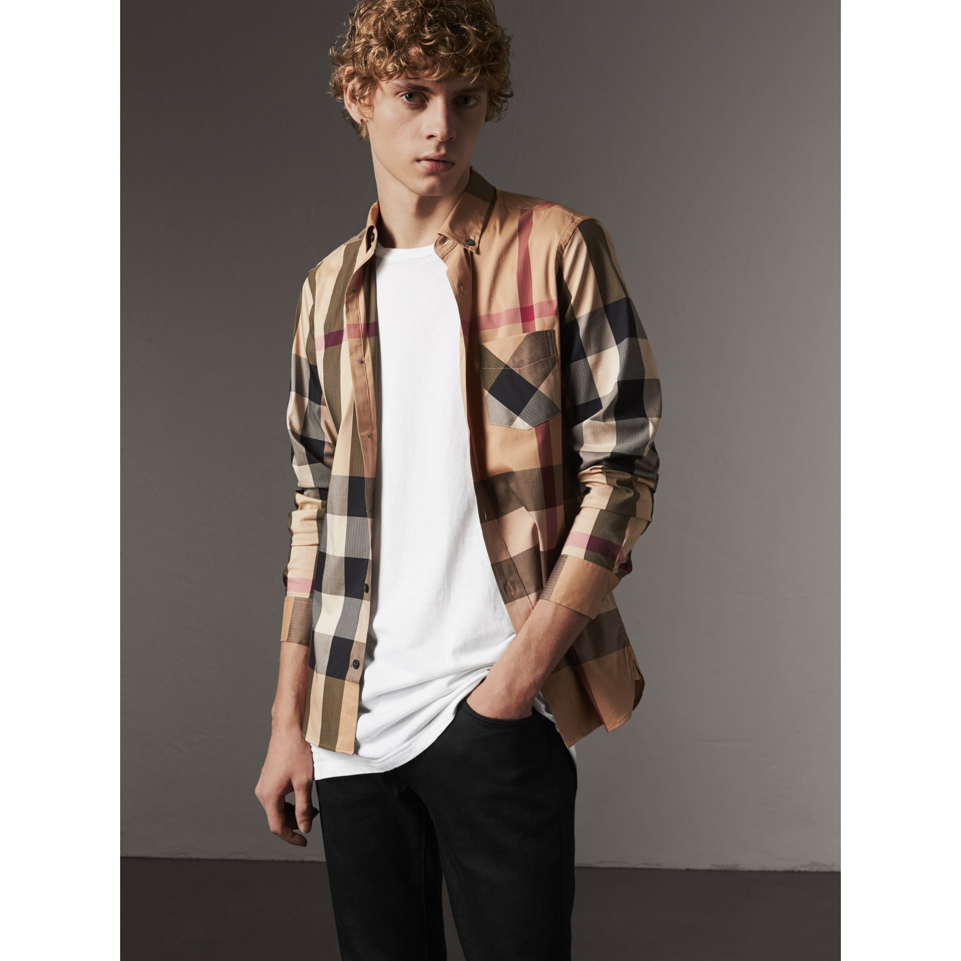 Button-down Collar Check Stretch Cotton Blend Shirt in Camel - Men | Burberry - gallery image 1