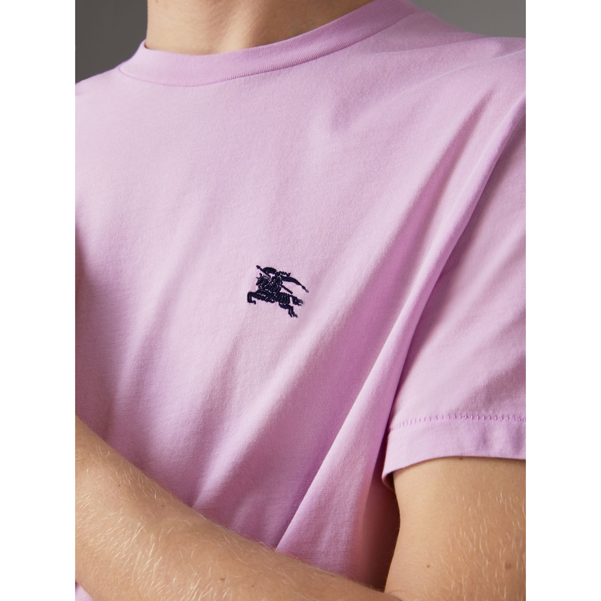 Cotton Jersey T-shirt in Pale Fuchsia - Men | Burberry United Kingdom - gallery image 1