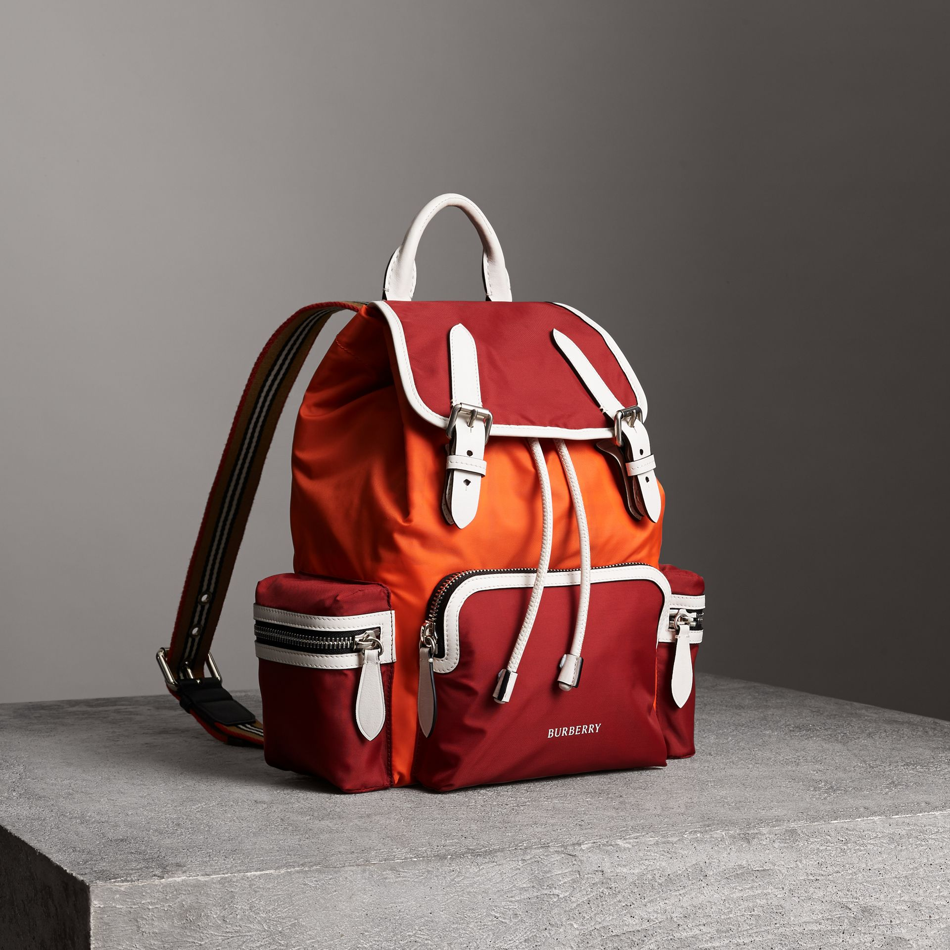 The Medium Rucksack in Colour Block Nylon and Leather in Parade Red - Women | Burberry - gallery image 0