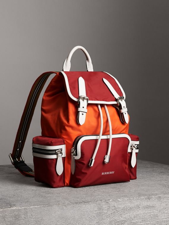 The Medium Rucksack in Colour Block Nylon and Leather in Parade Red