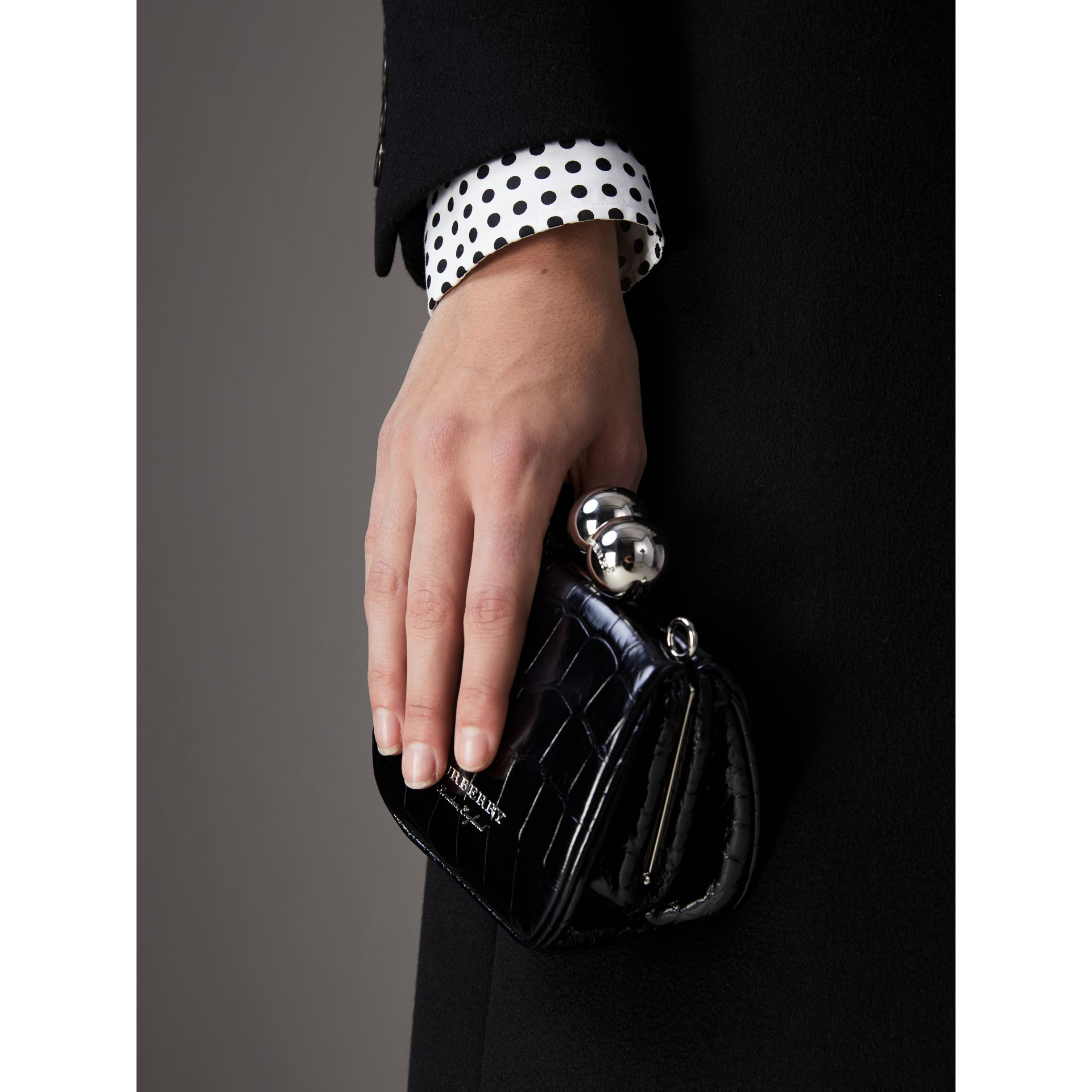 Mini Alligator Metal Frame Clutch Bag in Black - Women | Burberry - gallery image 3