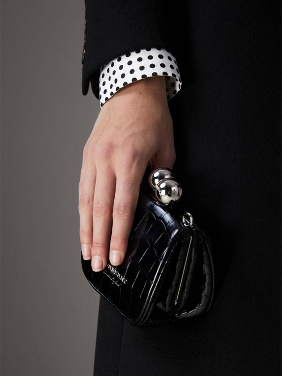 Mini Alligator Metal Frame Clutch Bag in Black - Women | Burberry - cell image 3