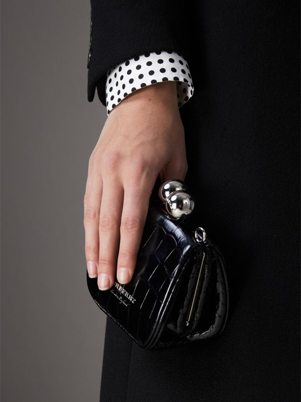 Mini Alligator Frame Bag in Black - Women | Burberry Australia - cell image 3