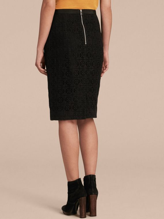 Black English Lace Pencil Skirt - cell image 2
