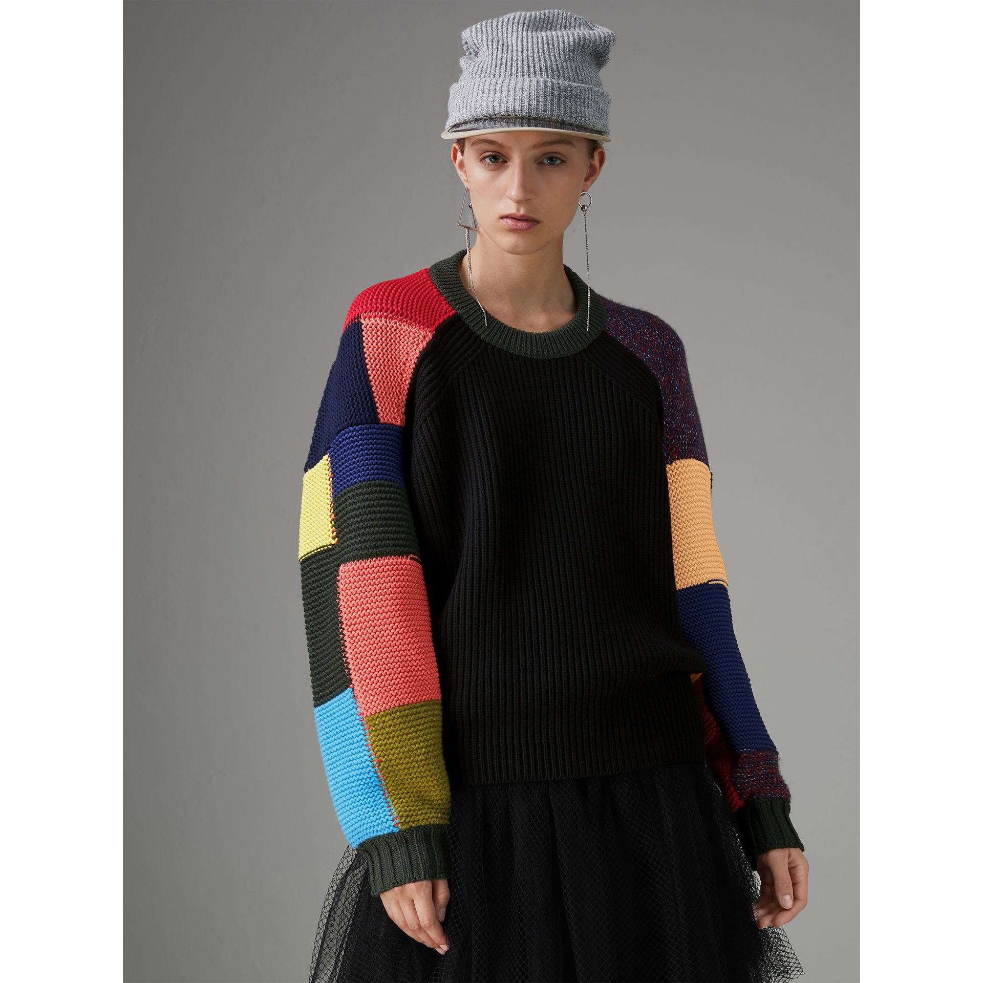 Patchwork Wool Blend Sweater in Multicolour - Women | Burberry Singapore - gallery image 4