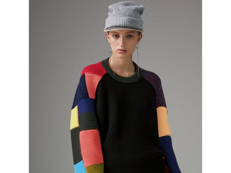 Patchwork Wool Cashmere Blend Sweater in Multicolour - Women | Burberry - cell image 4