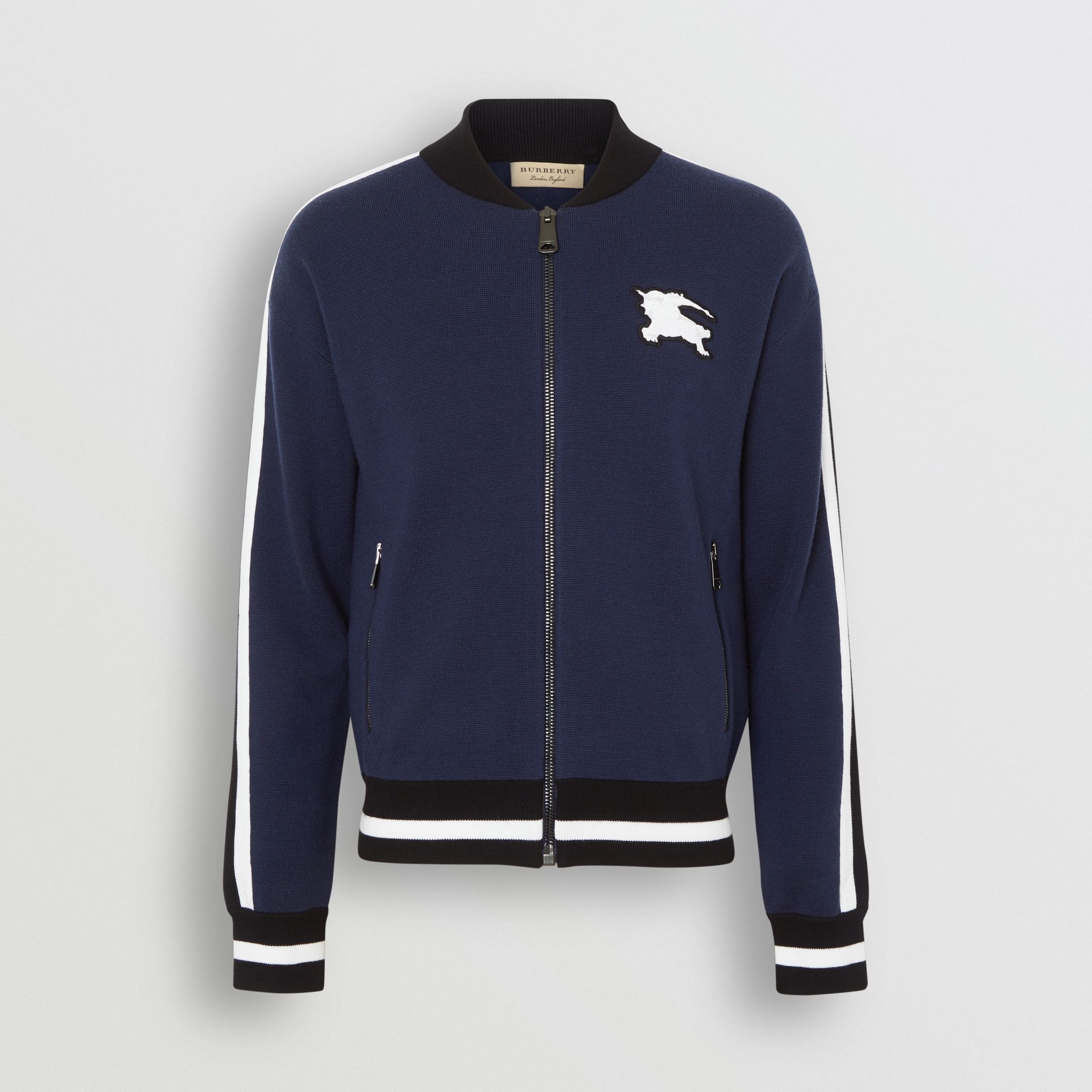 EKD Logo Merino Wool Varsity Jacket in Steel Blue - Men | Burberry - gallery image 3
