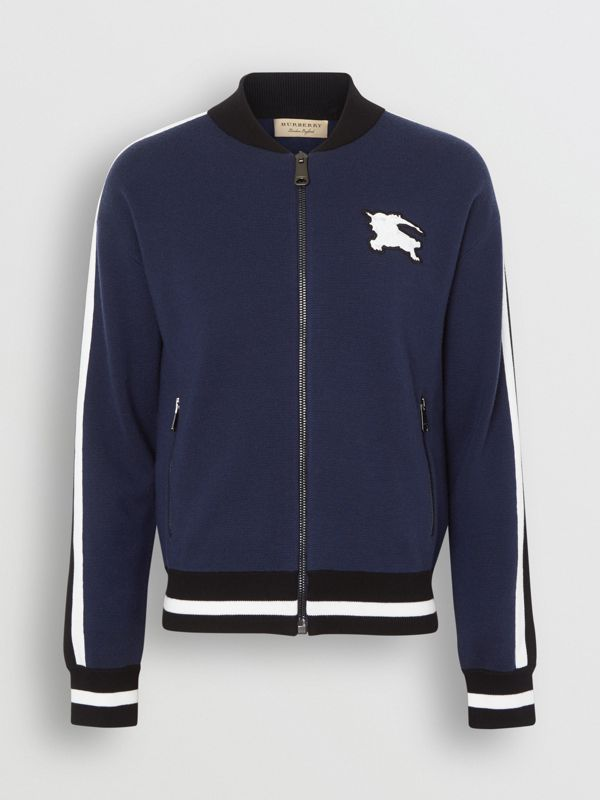 EKD Logo Merino Wool Varsity Jacket in Steel Blue - Men | Burberry - cell image 3