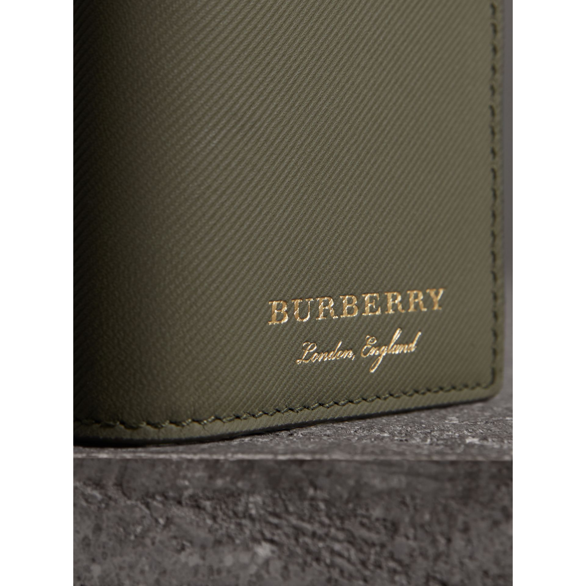 Trench Leather Folding Card Case in Slate Green - Men | Burberry Australia - gallery image 1