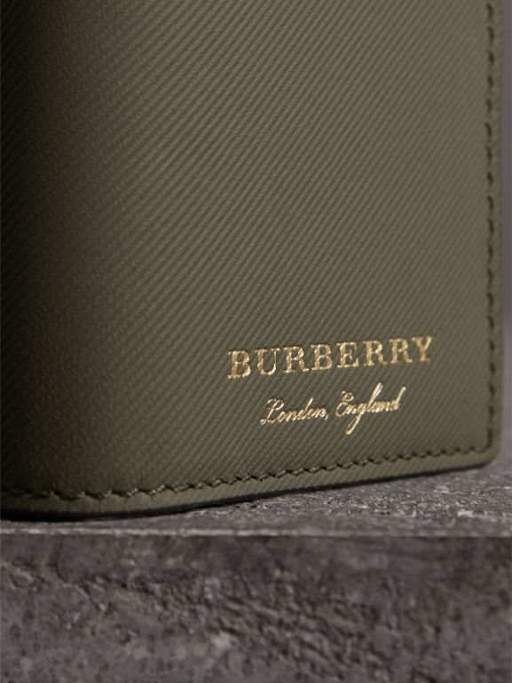 Trench Leather Folding Card Case in Slate Green | Burberry - cell image 1