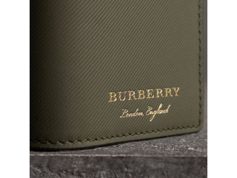 Trench Leather Folding Card Case in Slate Green - Men | Burberry - cell image 1