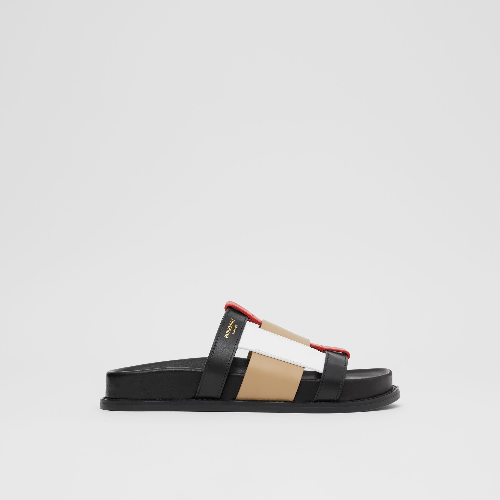 Colour Block Leather Slides in Black/archive Beige - Women | Burberry Hong Kong S.A.R - gallery image 5
