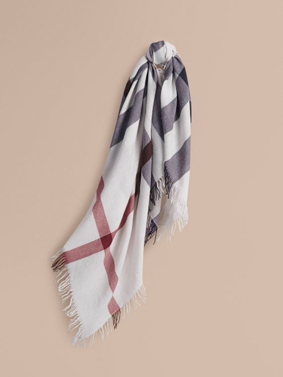 Check Wool Square - Large in Ivory | Burberry