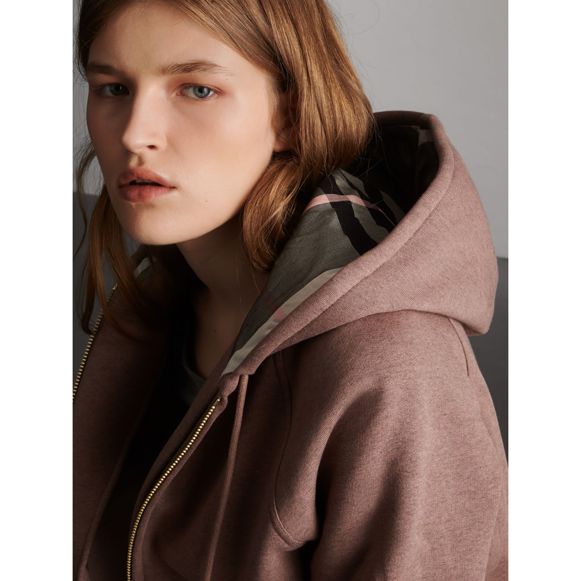 Hooded Cotton Blend Top in Antique Rose - Women | Burberry - gallery image 2