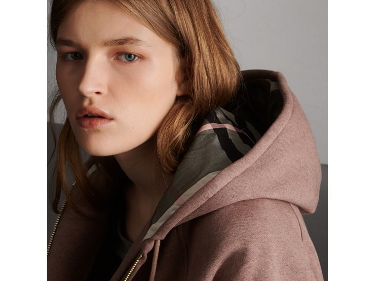 Hooded Cotton Blend Top in Antique Rose - Women | Burberry - cell image 1