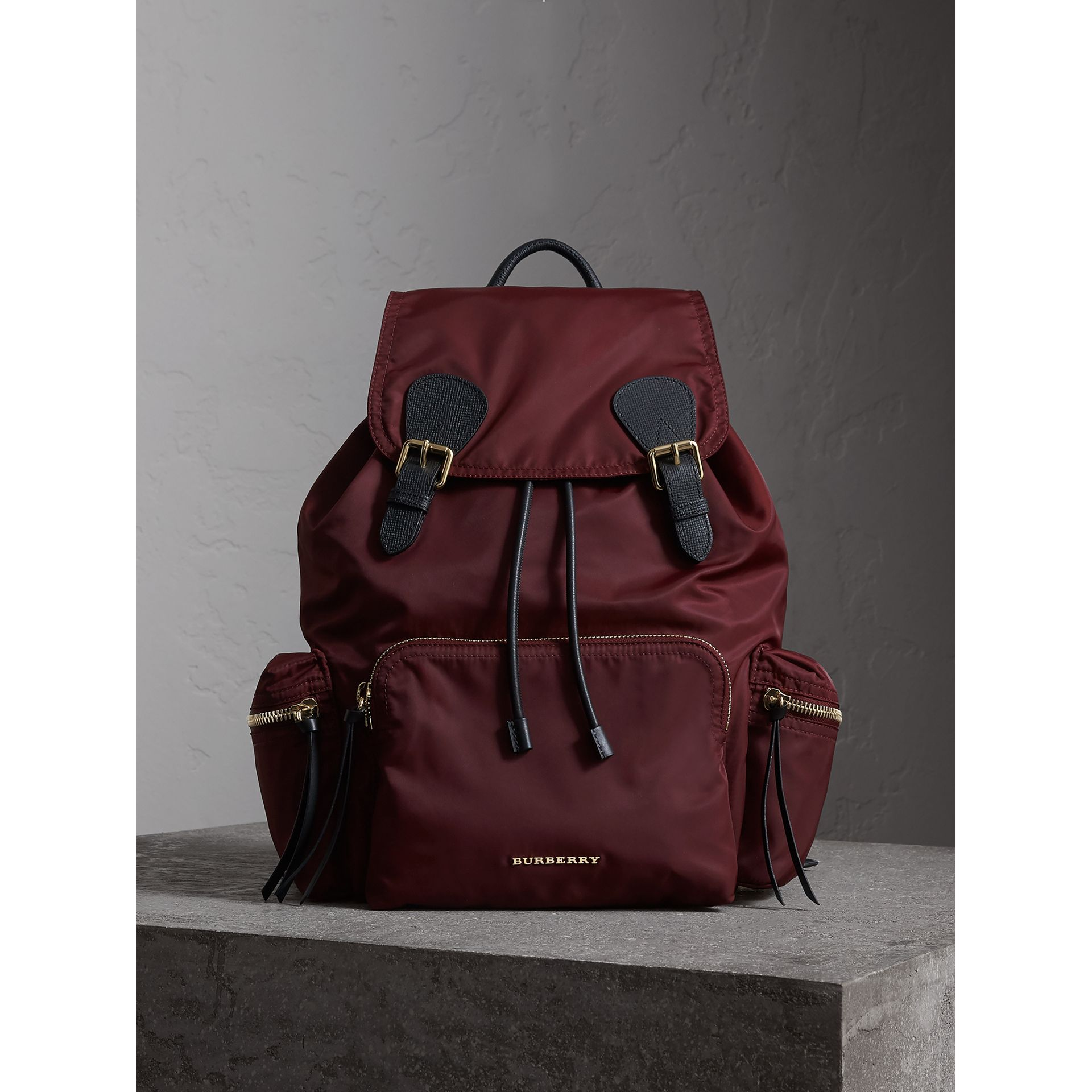 The Large Rucksack in Technical Nylon and Leather in Burgundy Red - Women | Burberry - gallery image 7