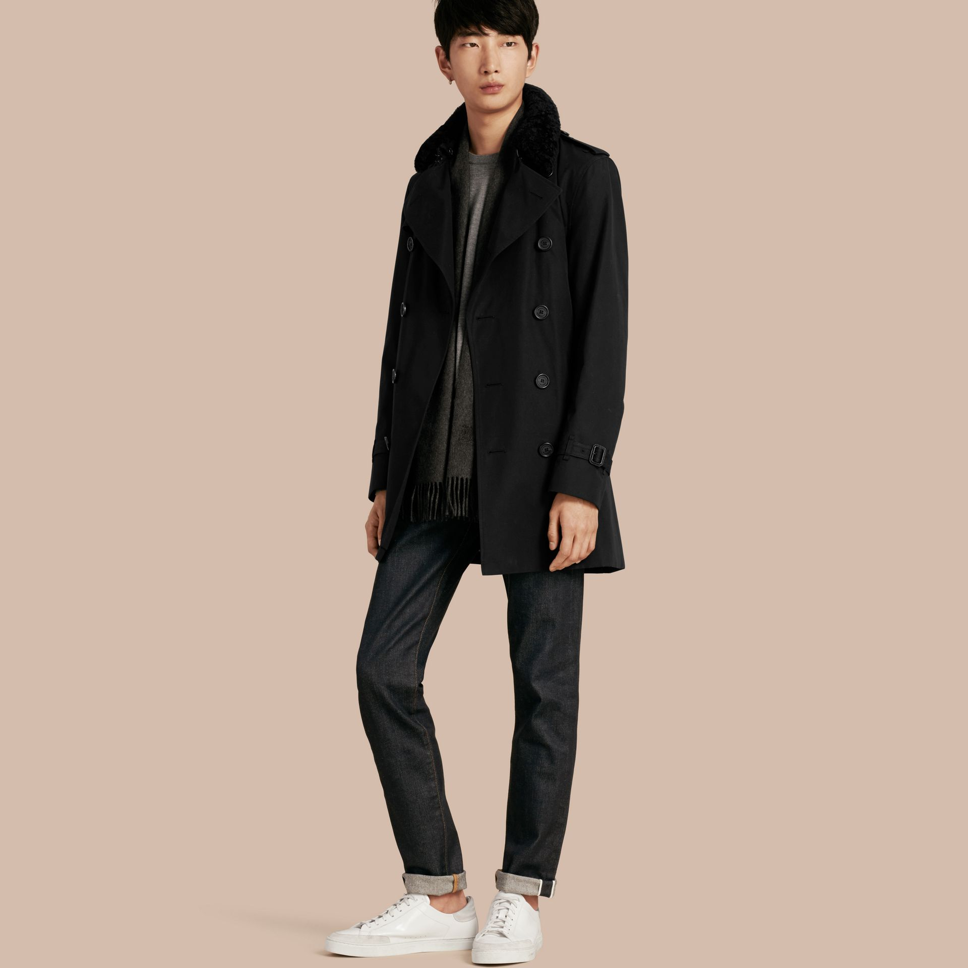 Black Detachable Shearling Topcollar Cotton Gabardine Trench Coat with Warmer Black - gallery image 1