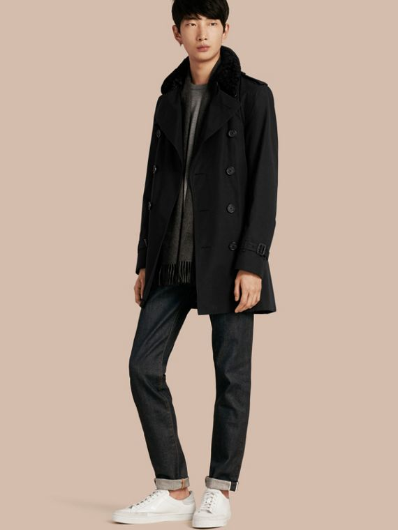 Detachable Shearling Topcollar Cotton Gabardine Trench Coat with Warmer Black