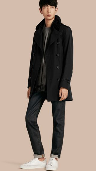 Shearling Topcollar Cotton Gabardine Trench Coat with Warmer