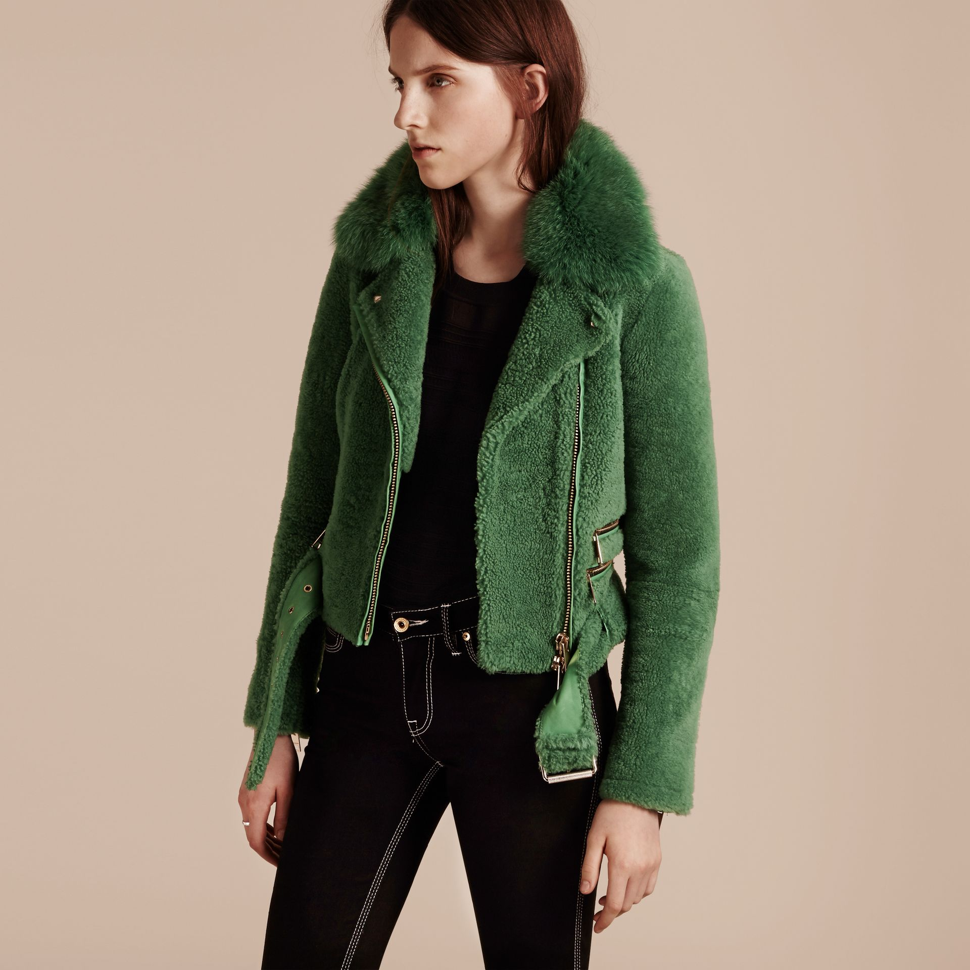 Pigment green Shearling Biker Jacket with Fox Fur Collar Pigment Green - gallery image 7