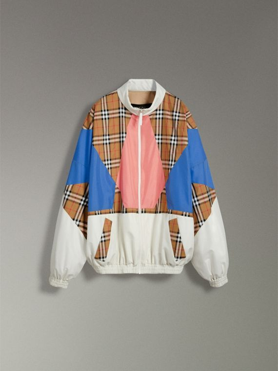 Vintage Check Panel Silk Shell Suit Jacket in White - Women | Burberry Australia - cell image 3