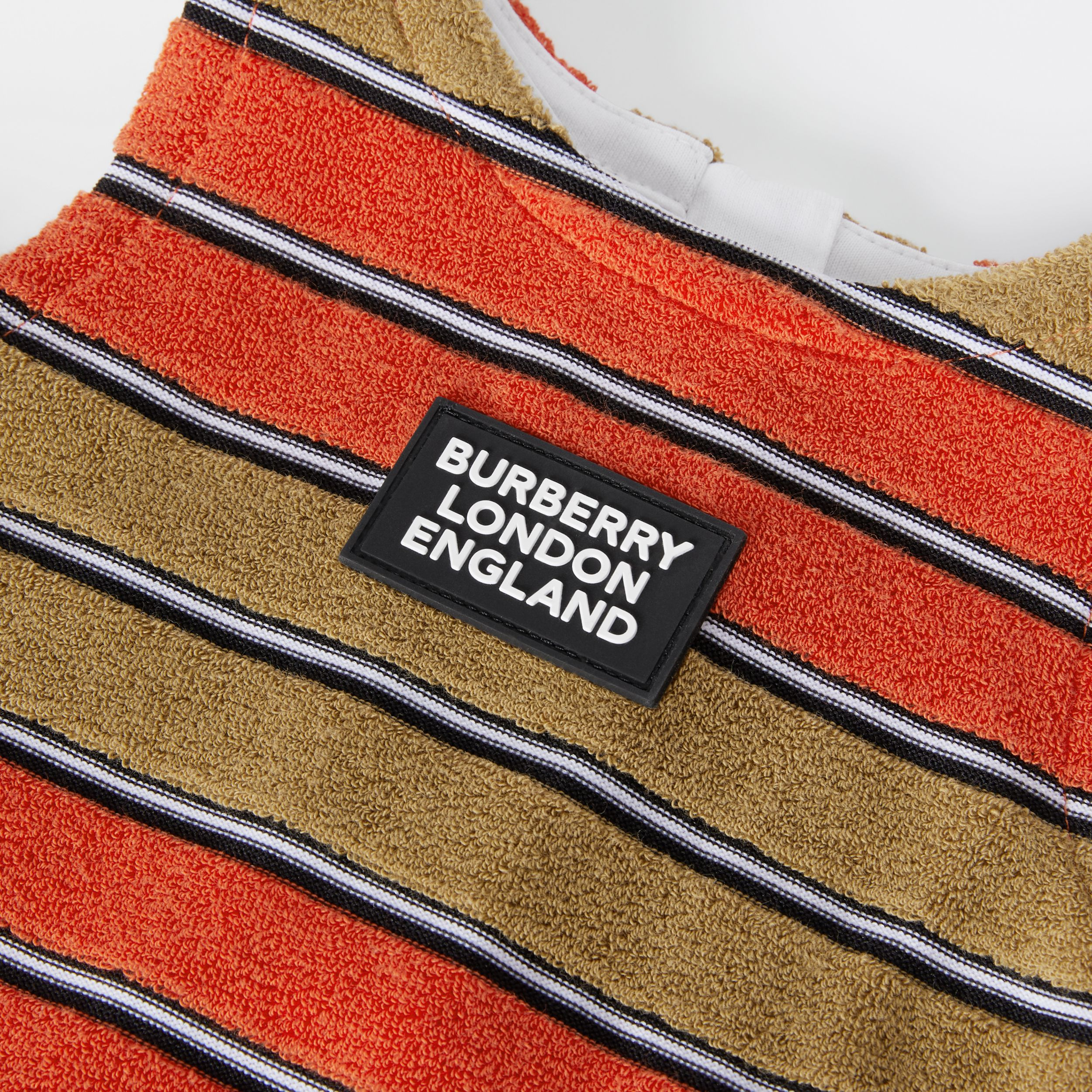 Logo Appliqué Striped Towelling Top in Vermilion Red - Children | Burberry - 2