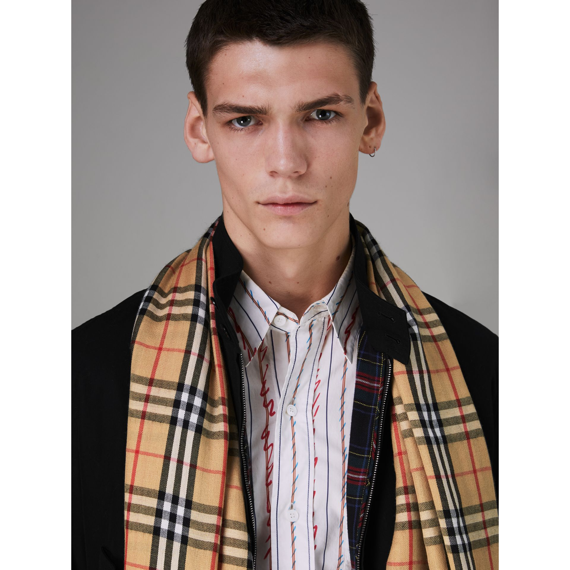 Vintage Check Lightweight Cashmere Scarf in Antique Yellow | Burberry United Kingdom - gallery image 3