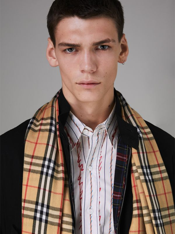Vintage Check Lightweight Cashmere Scarf in Antique Yellow | Burberry - cell image 3