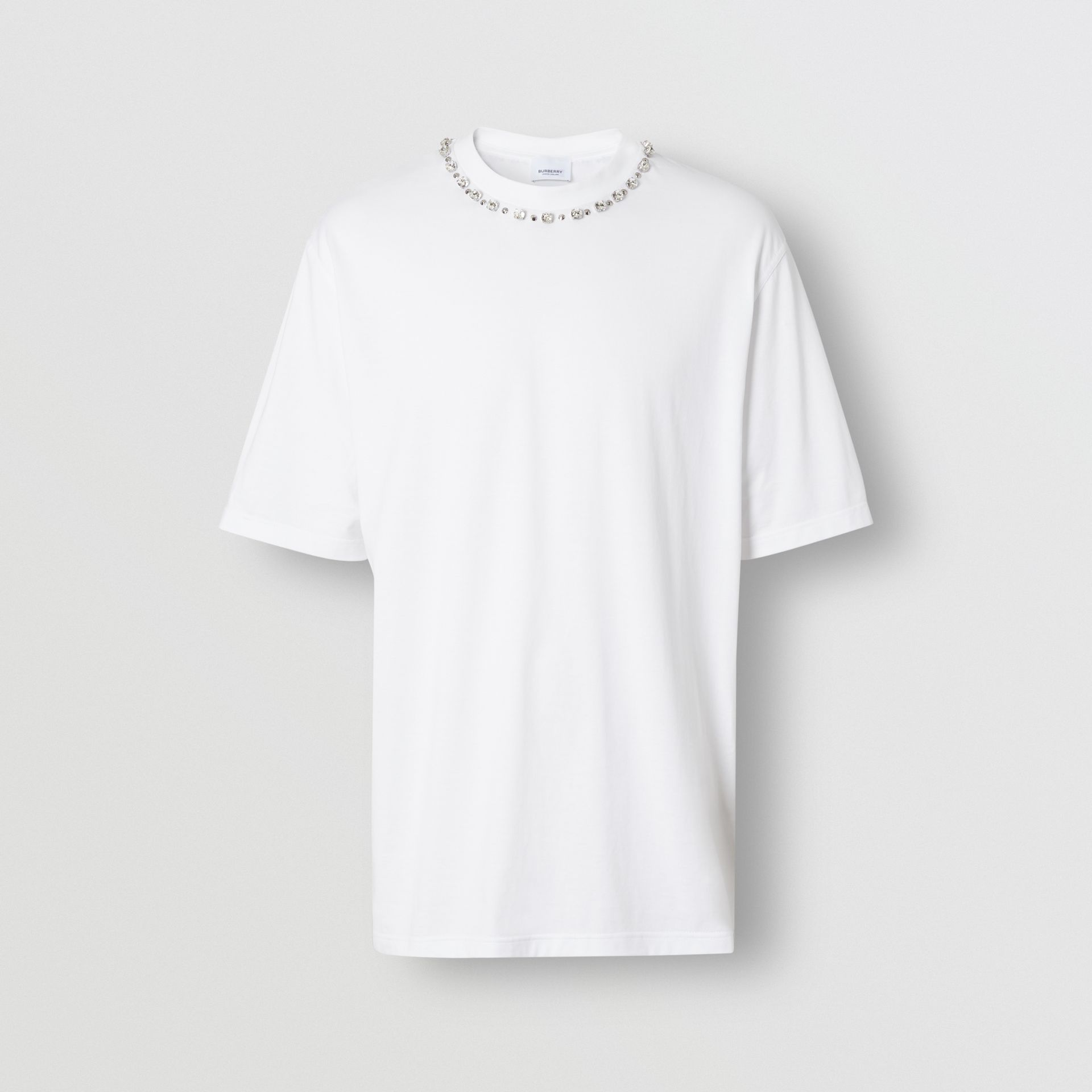 Embellished Cotton Oversized T-shirt in White - Men | Burberry United States - gallery image 3