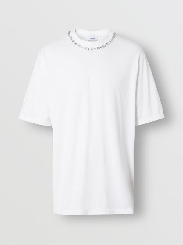 Embellished Cotton Oversized T-shirt in White - Men | Burberry Hong Kong S.A.R - cell image 3