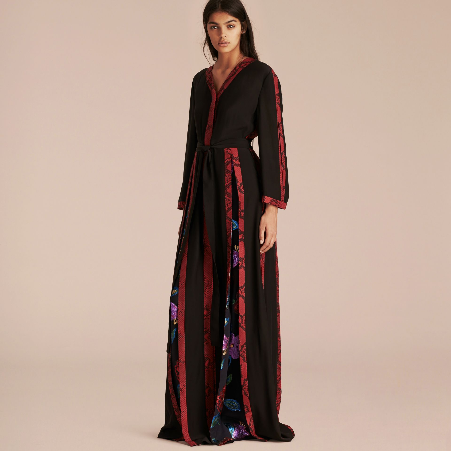Black Floral Fil Coupé Trimmed Silk Wrap Gown - gallery image 1