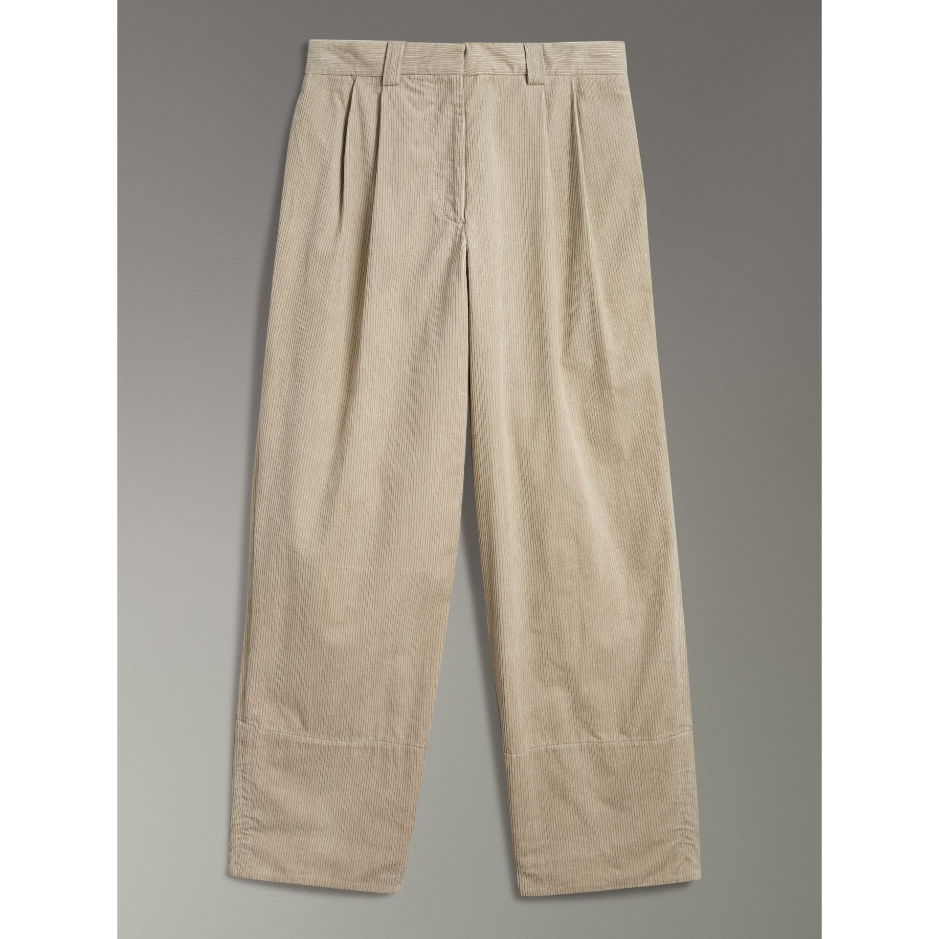 Roll-up Cuff Cotton Corduroy Trousers in Stone - Women | Burberry - gallery image 3