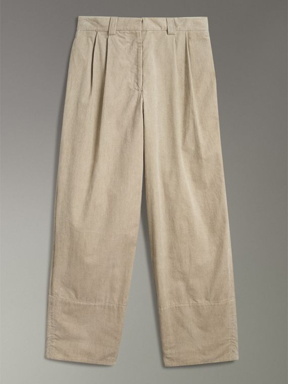 Roll-up Cuff Cotton Corduroy Trousers in Stone - Women | Burberry - cell image 3