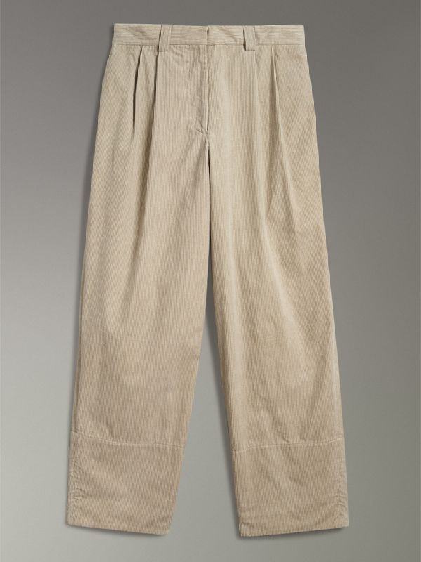 Roll-up Cuff Cotton Corduroy Trousers in Stone - Women | Burberry Canada - cell image 3