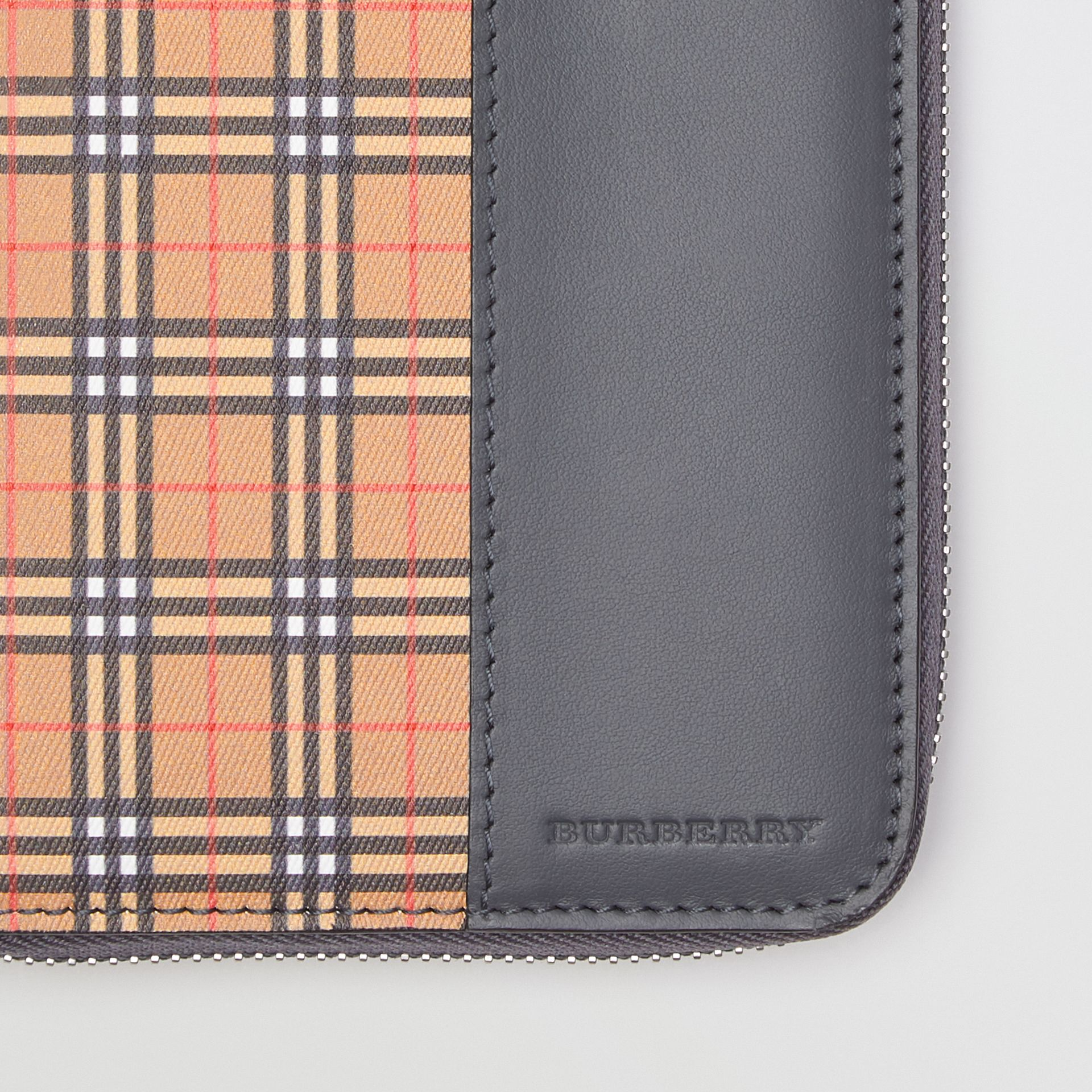 Small Scale Check and Leather Ziparound Wallet in Antique Yellow/dark Grey - Men | Burberry Australia - gallery image 1