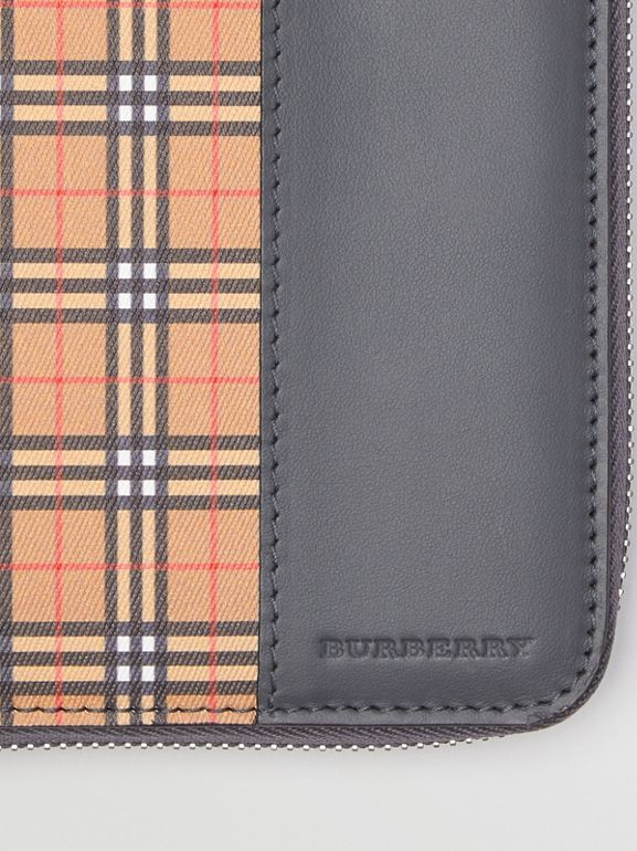 Small Scale Check and Leather Ziparound Wallet in Antique Yellow/dark Grey - Men | Burberry - cell image 1