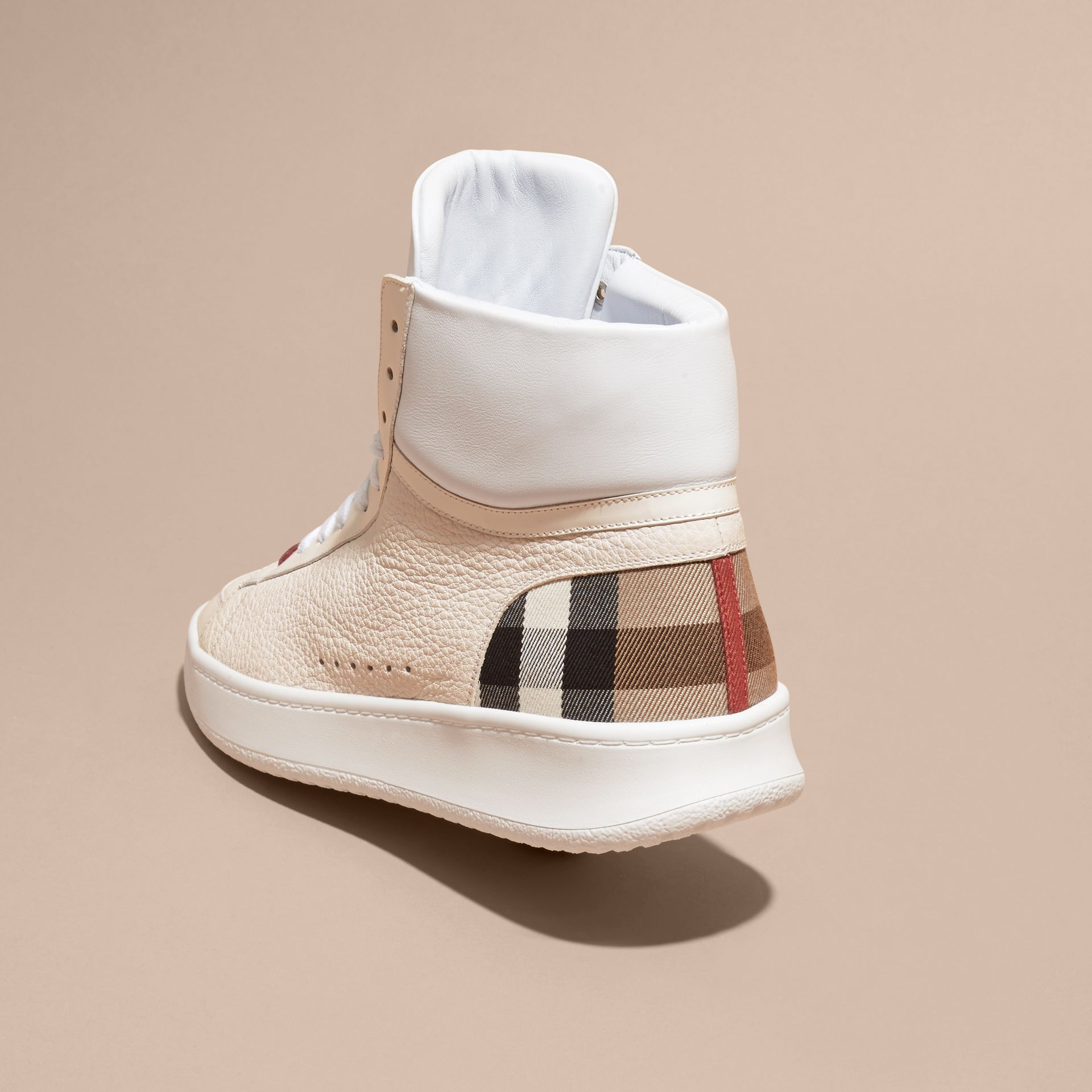 House check/optic white Check Detail Leather High-top Trainers House Check/optic White - gallery image 4