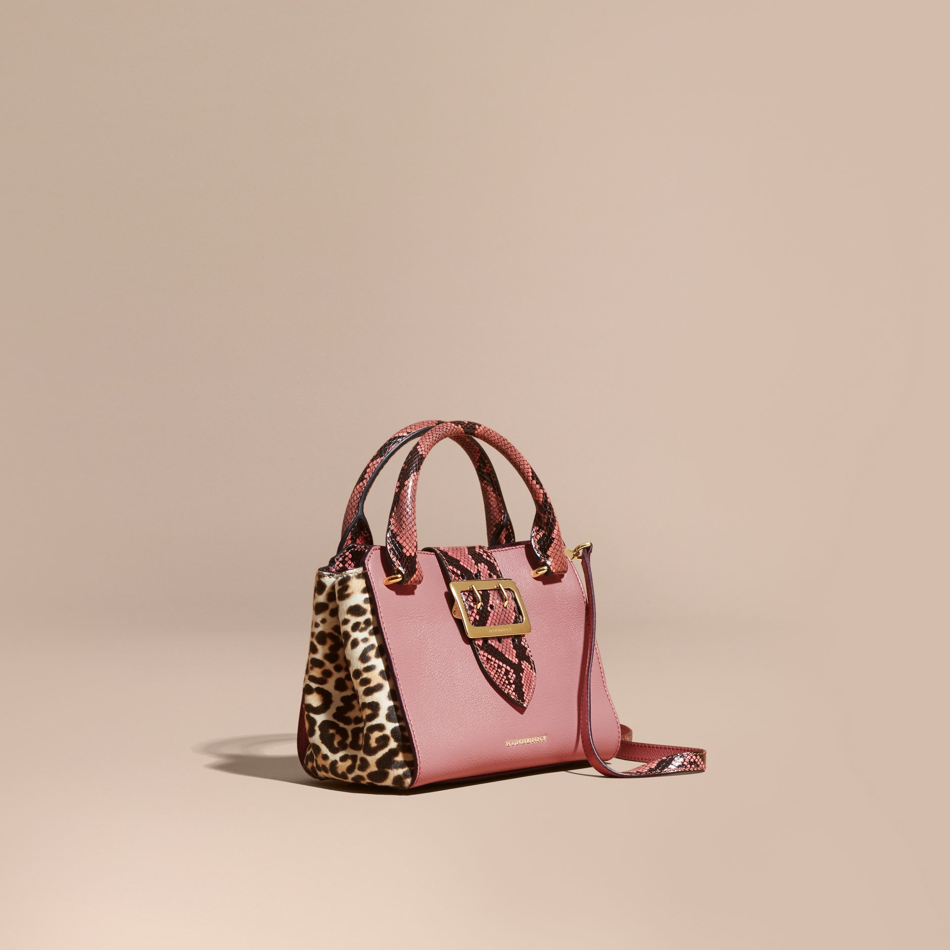 Dusty pink The Small Buckle Tote in Leather and  Leopard-print Calfskin Dusty Pink - gallery image 1