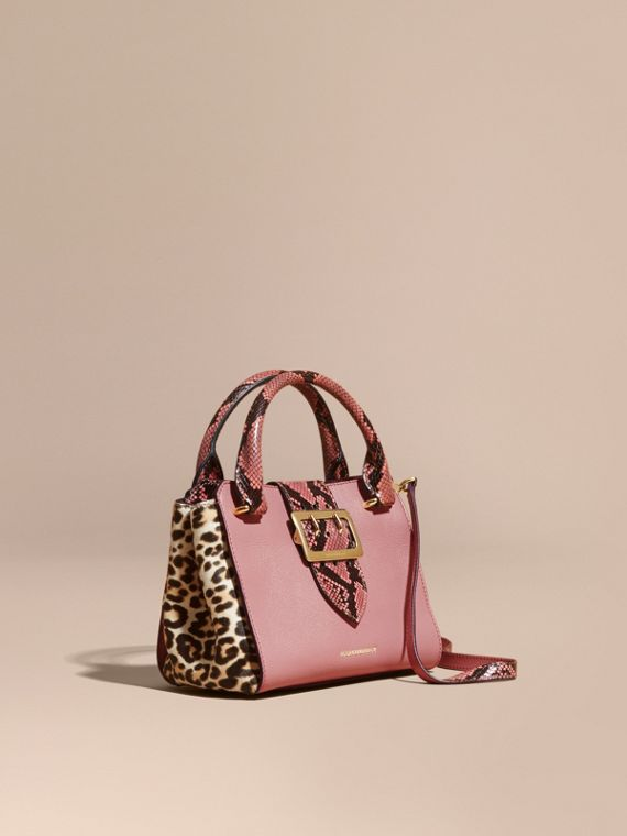 The Small Buckle Tote in Leather and  Leopard-print Calfskin Dusty Pink