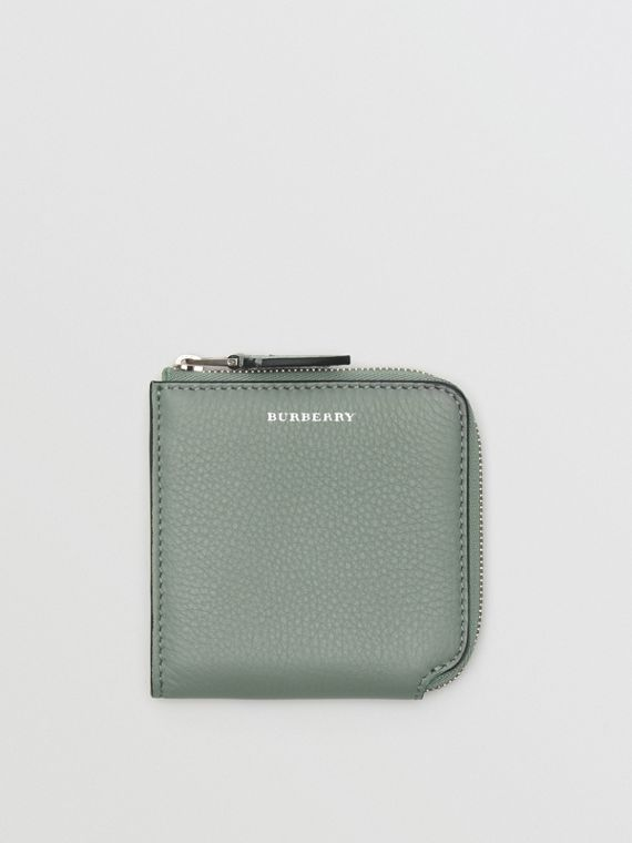 Grainy Leather Square Ziparound Wallet in Grey Blue