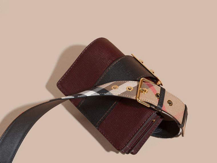 The Small Buckle Bag in Textured Leather in Burgundy/black - cell image 4
