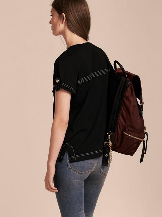 Nero T-shirt in cotone con impunture Nero - cell image 2