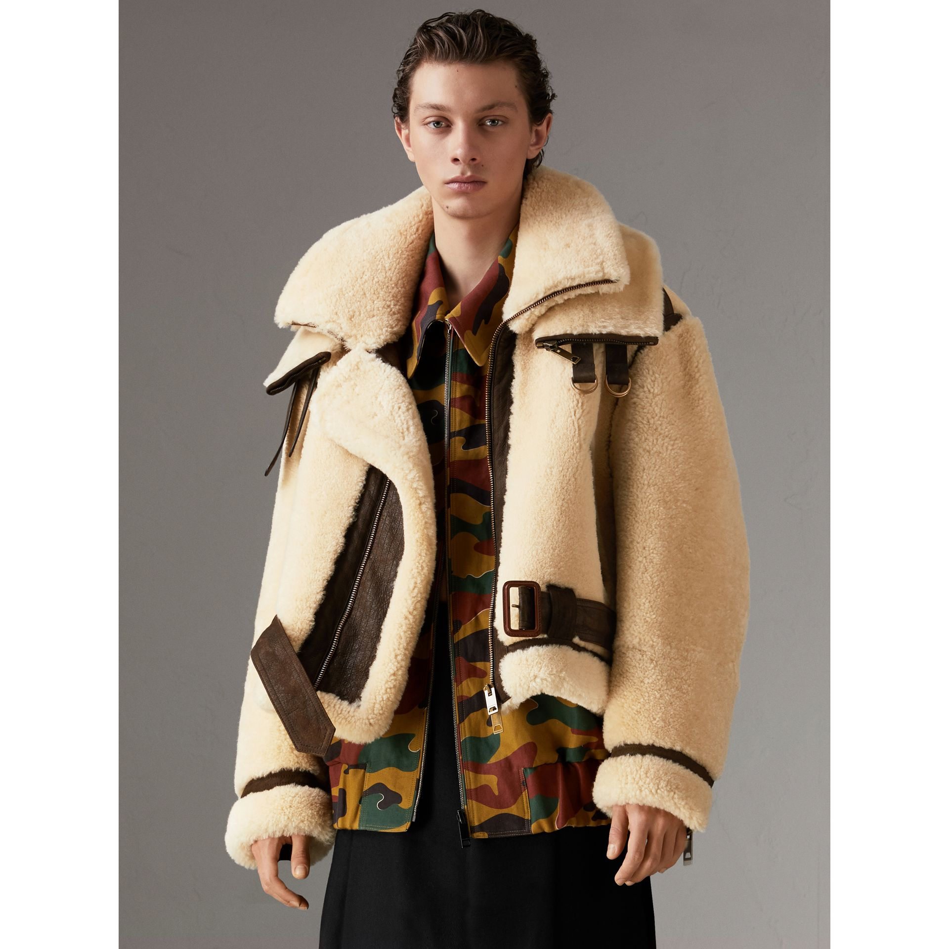 Reissued 2010 Shearling Aviator in Sand | Burberry Singapore - gallery image 5