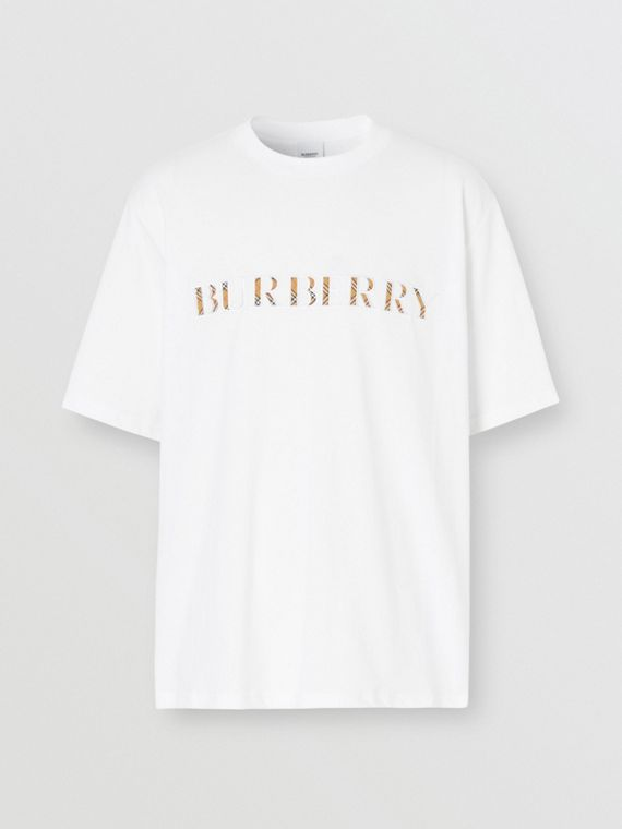 Check Logo Cotton T-shirt in White