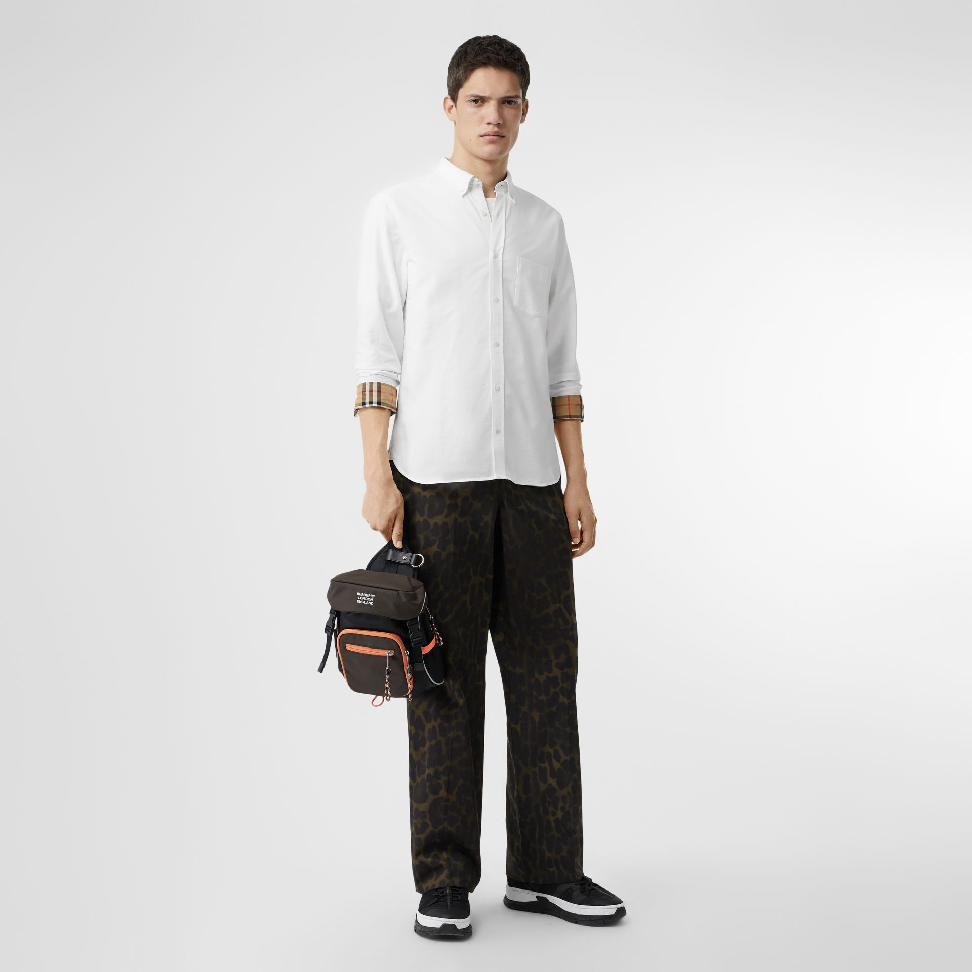 Check Cuff Cotton Oxford Shirt in White - Men | Burberry Singapore - gallery image 0