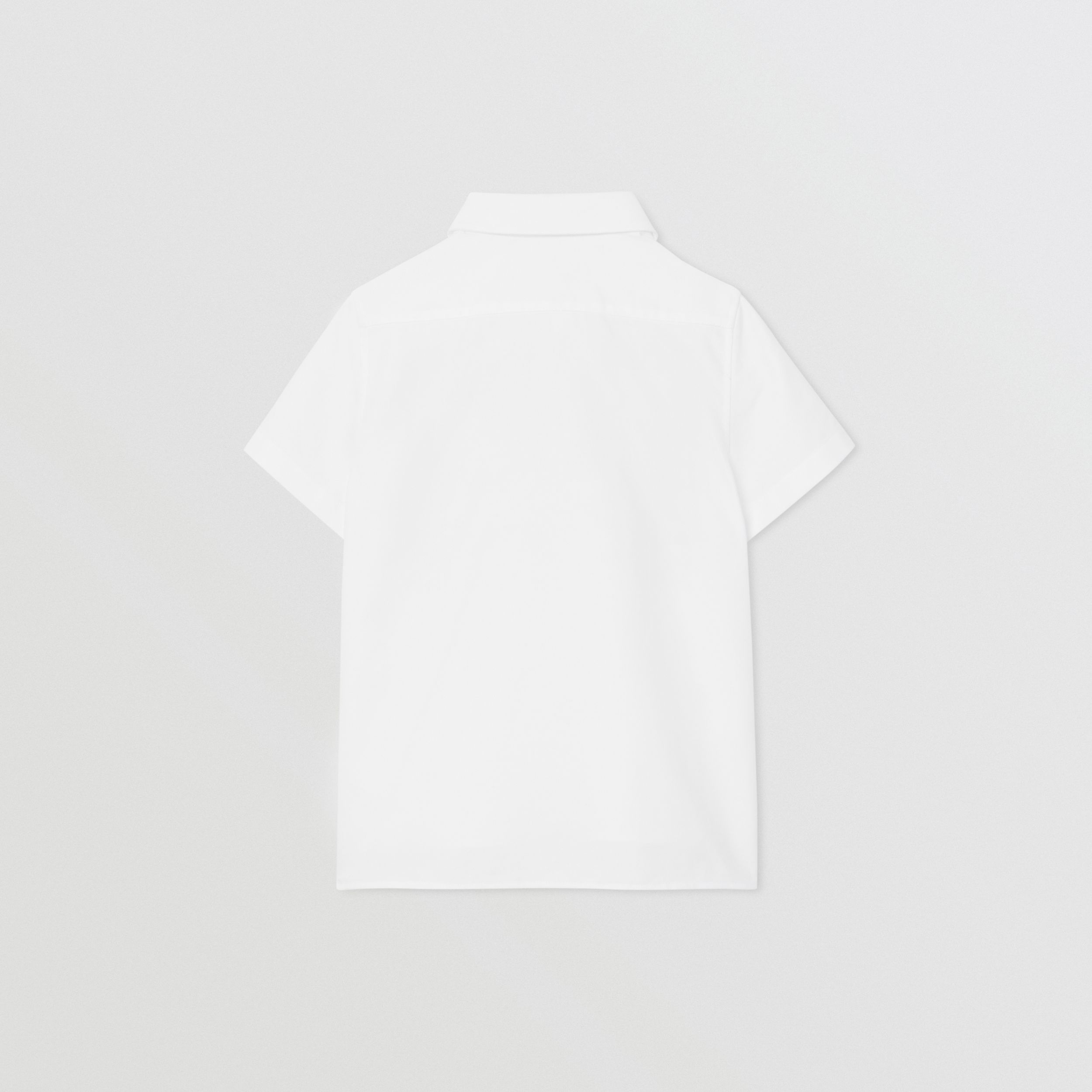 Short-sleeve Logo Print Cotton Oxford Shirt in White | Burberry - 4