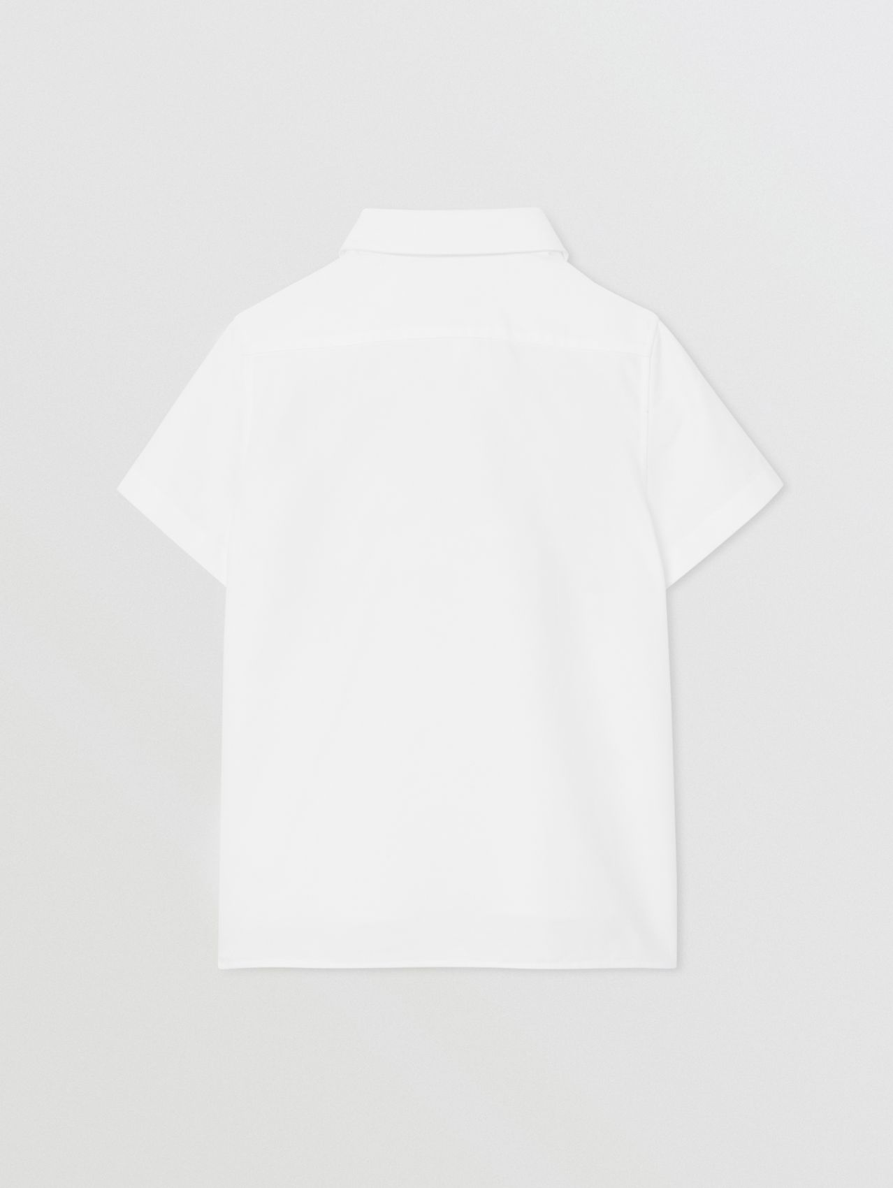 Short-sleeve Logo Print Cotton Oxford Shirt (White)