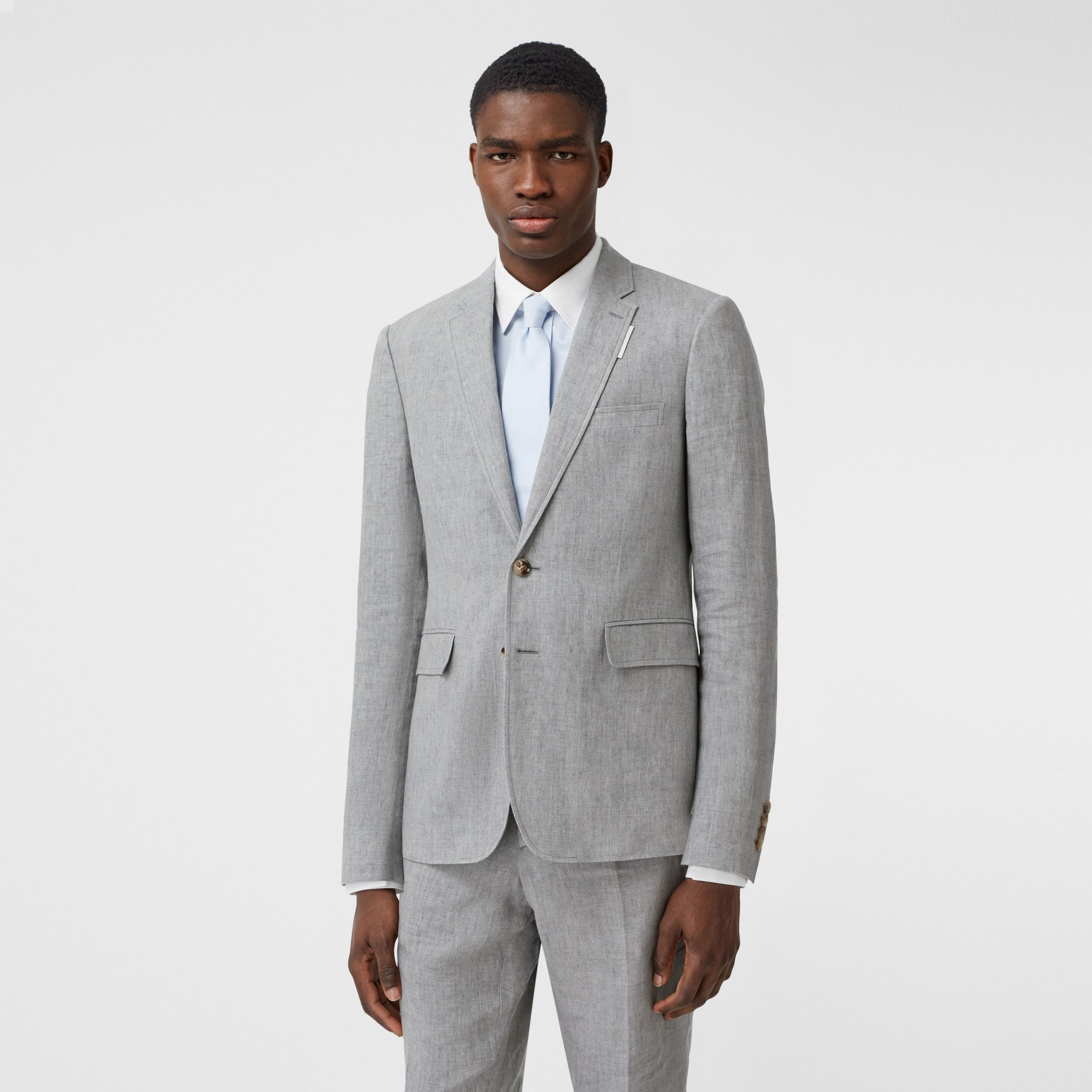 Slim Fit Linen Tailored Jacket in Heather Melange - Men | Burberry - 1