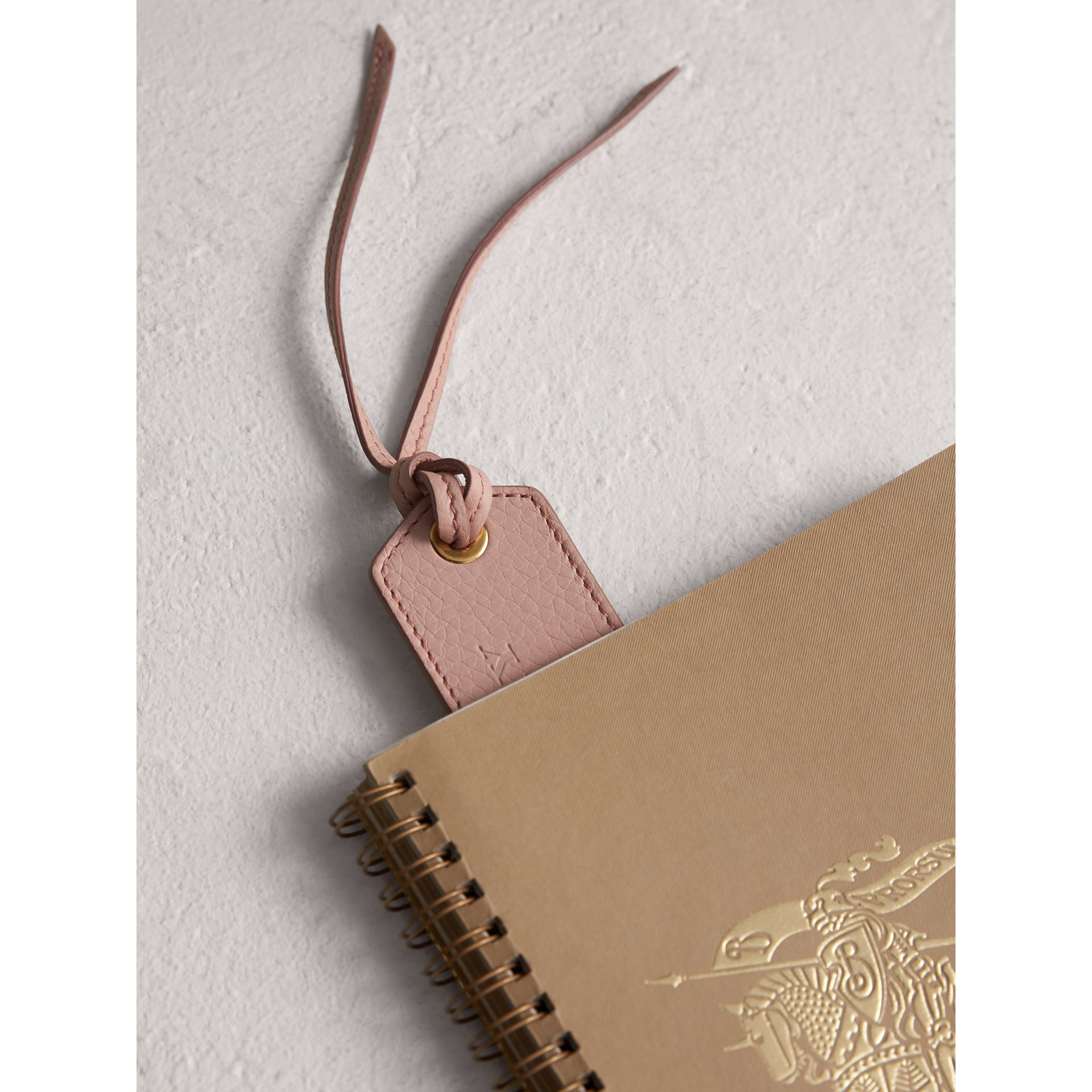 Embossed Leather Bookmark in Pale Ash Rose | Burberry - gallery image 1