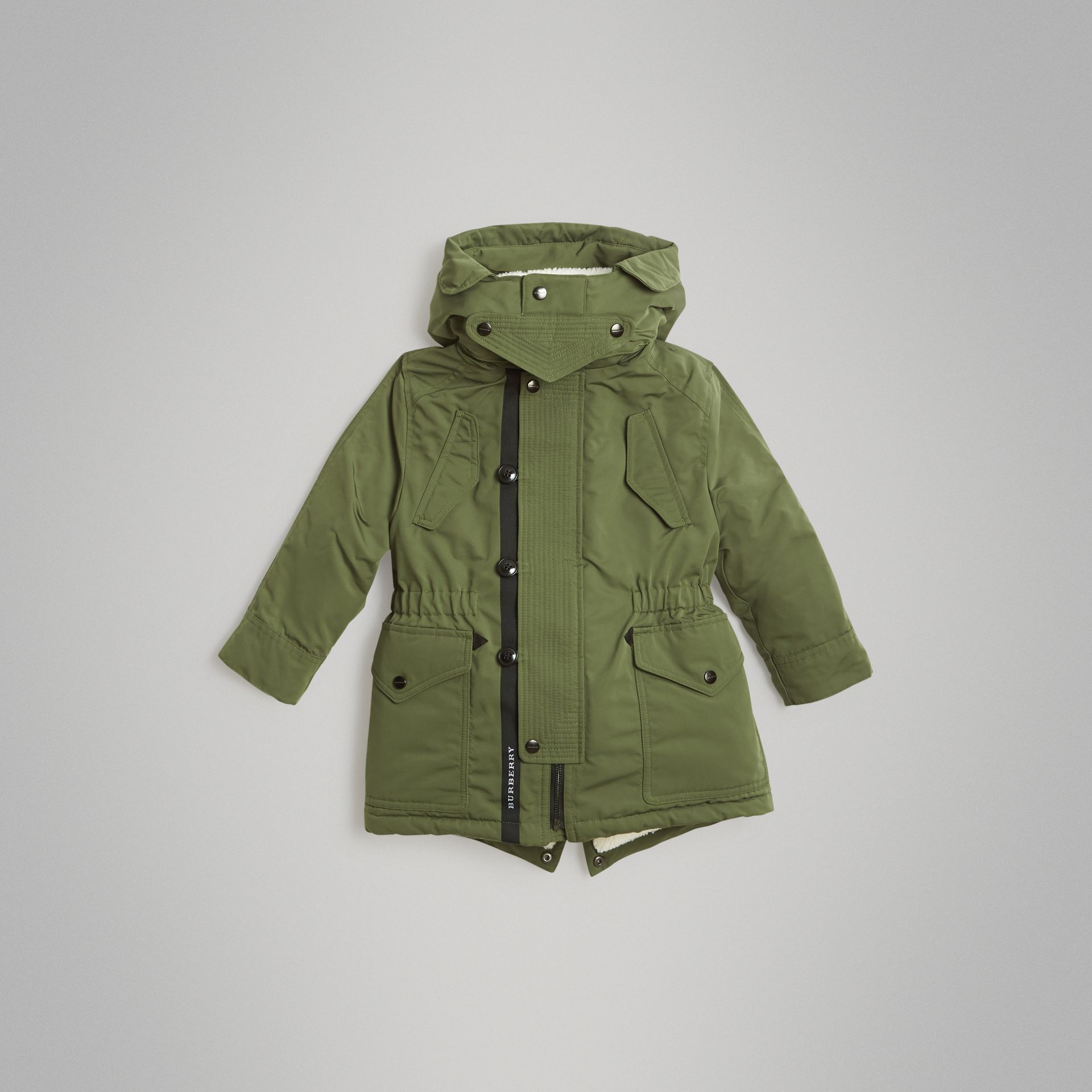 Detachable Hood Down-filled Parka Coat in Sage | Burberry Singapore - gallery image 0